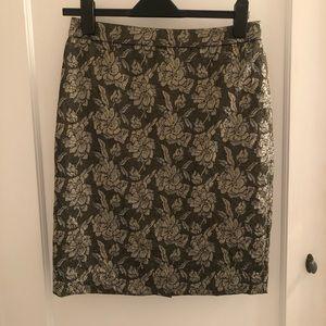 Floral Metallic JCrew Collection Pencil Skirt 2